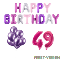 49 jaar Verjaardag Versiering Ballon Pakket Pastel & Roze