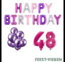 48 jaar Verjaardag Versiering Ballon Pakket Pastel & Roze