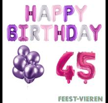 45 jaar Verjaardag Versiering Ballon Pakket Pastel & Roze