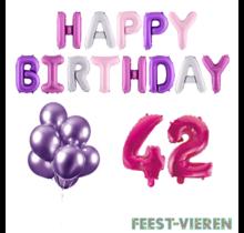 42 jaar Verjaardag Versiering Ballon Pakket Pastel & Roze