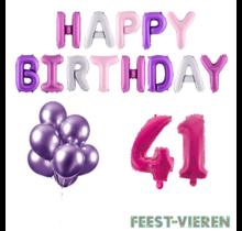 41 jaar Verjaardag Versiering Ballon Pakket Pastel & Roze