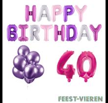40 jaar Verjaardag Versiering Ballon Pakket Pastel & Roze