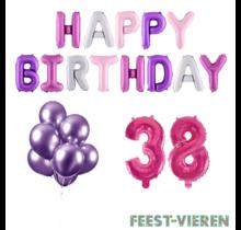 38 jaar Verjaardag Versiering Ballon Pakket Pastel & Roze