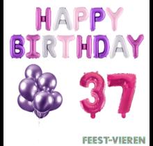 37 jaar Verjaardag Versiering Ballon Pakket Pastel & Roze