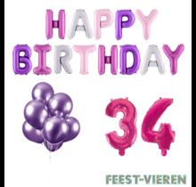 34 jaar Verjaardag Versiering Ballon Pakket Pastel & Roze