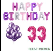 33 jaar Verjaardag Versiering Ballon Pakket Pastel & Roze