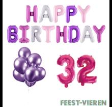 32 jaar Verjaardag Versiering Ballon Pakket Pastel & Roze