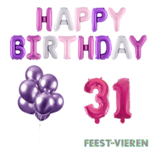 31 jaar Verjaardag Versiering Ballon Pakket Pastel & Roze