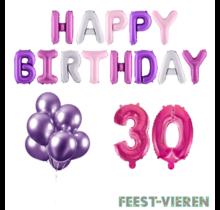 30 jaar Verjaardag Versiering Ballon Pakket Pastel & Roze