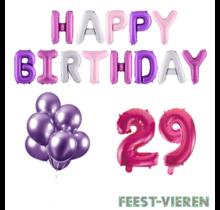 29 jaar Verjaardag Versiering Ballon Pakket Pastel & Roze