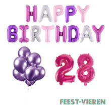 28 jaar Verjaardag Versiering Ballon Pakket Pastel & Roze
