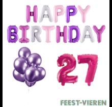 27 jaar Verjaardag Versiering Ballon Pakket Pastel & Roze