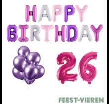 26 jaar Verjaardag Versiering Ballon Pakket Pastel & Roze
