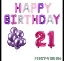21 jaar Verjaardag Versiering Ballon Pakket Pastel & Roze