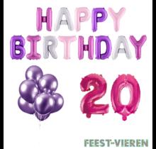 20 jaar Verjaardag Versiering Ballon Pakket Pastel & Roze
