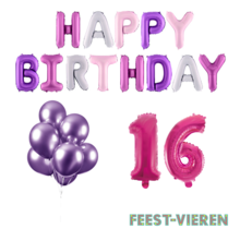 16 jaar Verjaardag Versiering Ballon Pakket Pastel & Roze