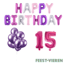 15 jaar Verjaardag Versiering Ballon Pakket Pastel & Roze