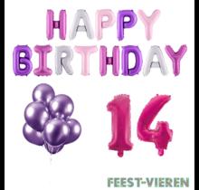 14 jaar Verjaardag Versiering Ballon Pakket Pastel & Roze