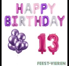 13 jaar Verjaardag Versiering Ballon Pakket Pastel & Roze