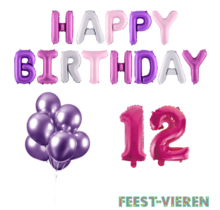 12 jaar Verjaardag Versiering Ballon Pakket Pastel & Roze