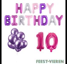10 jaar Verjaardag Versiering Ballon Pakket Pastel & Roze