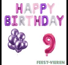 9 jaar Verjaardag Versiering Ballon Pakket Pastel & Roze