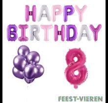 8 jaar Verjaardag Versiering Ballon Pakket Pastel & Roze