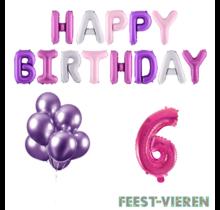 6 jaar Verjaardag Versiering Ballon Pakket Pastel & Roze