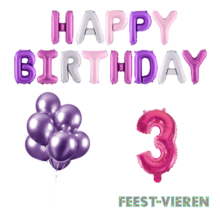 3 jaar Verjaardag Versiering Ballon Pakket Pastel & Roze