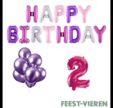 2 jaar Verjaardag Versiering Ballon Pakket Pastel & Roze