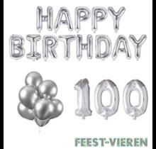 100 jaar Verjaardag Versiering Ballon Pakket zilver