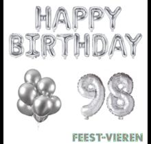 98 jaar Verjaardag Versiering Ballon Pakket zilver