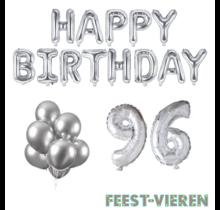 96 jaar Verjaardag Versiering Ballon Pakket zilver