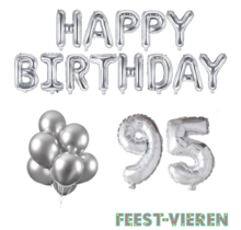 95 jaar Verjaardag Versiering Ballon Pakket zilver
