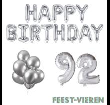 92 jaar Verjaardag Versiering Ballon Pakket zilver