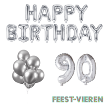 90 jaar Verjaardag Versiering Ballon Pakket zilver