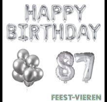 87 jaar Verjaardag Versiering Ballon Pakket zilver