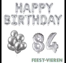 84 jaar Verjaardag Versiering Ballon Pakket zilver