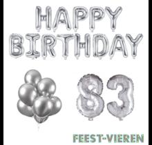 83 jaar Verjaardag Versiering Ballon Pakket zilver