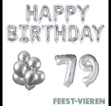 79 jaar Verjaardag Versiering Ballon Pakket zilver