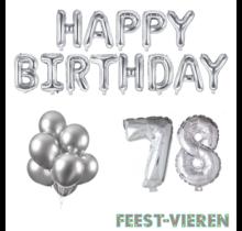 78 jaar Verjaardag Versiering Ballon Pakket zilver