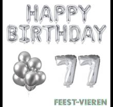 77 jaar Verjaardag Versiering Ballon Pakket zilver