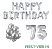 75 jaar Verjaardag Versiering Ballon Pakket zilver