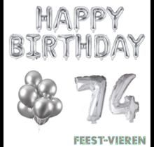 74 jaar Verjaardag Versiering Ballon Pakket zilver