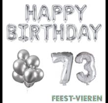 73 jaar Verjaardag Versiering Ballon Pakket zilver