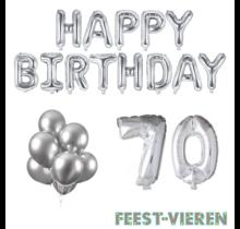 70 jaar Verjaardag Versiering Ballon Pakket zilver