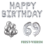 Feest-vieren 69 jaar Verjaardag Versiering Ballon Pakket zilver