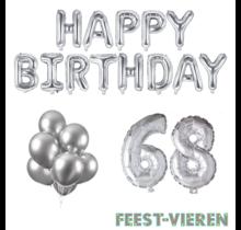 68 jaar Verjaardag Versiering Ballon Pakket zilver