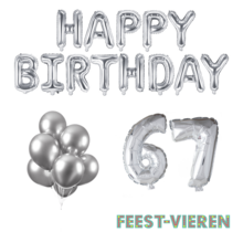 67 jaar Verjaardag Versiering Ballon Pakket zilver