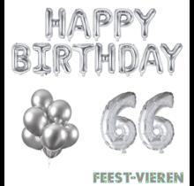 66 jaar Verjaardag Versiering Ballon Pakket zilver
